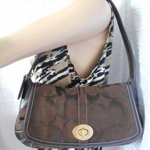 Coach 11257 ERGO Signature Flap Brown Bag Hobo